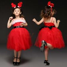Girls Strappy Fur Tulle Tutu Skirt Dress Princess Party Pageant Age 6 7 Years