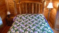 """HANDMADE QUILT~ Disappearing Nine Patch - 93"""" x 100"""" - Hand Sewn/Quilted in USA"""
