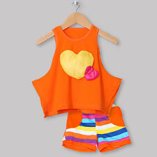 Baby Girls Sleeveless T-shirt Top Neon Stripes Shorts Outfits Summer Clothes Set