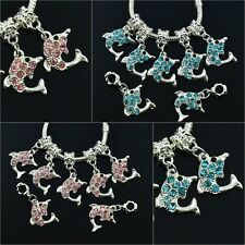 Blue / Red Crystal Silver Dolphin Dangle Charm Bead Fit European Chain Bracelet