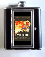 1900 French Booze Poster Nice 5oz Flask Cigarette Case ID Wallet USA Made