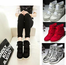 2015 New Ankle High Top Women's Velcro Lace UP Wedge Hidden Heels Sneakers Shoes