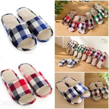 Fashion Women Men Big Checks Home Lightweight  Slippers Linen Flax Bedroom Shoes