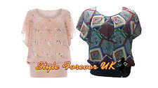 New Ladies Womens Plus Size Chiffon Batwing Style Party Top Blouse - Nude, Print