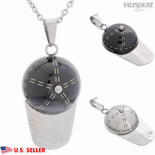 VALYRIA 316L Stainless Steel Fashion Women's Men's Baseball Hat Pendant Necklace