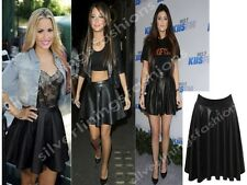 Womens Celeb Faux Leather PVC Wet Look High Waist Flared Skater Mini Skirt 8-14
