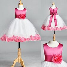 NEW Baby Fuchsia Petal Tulle Dress Flower Girl Bridesmaid Pageant Birthday #22