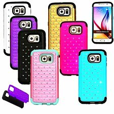 Hybrid Shockproof Bling Crystal Hard Case Cover for Samsung Galaxy S6 S6 Edge