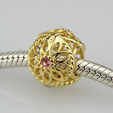 NEW! Authentic 925 Sterling Silver Charm Golden Sunflower Pink Crystal Bead-13