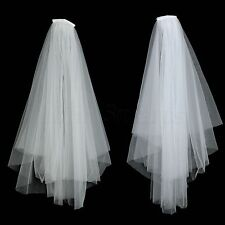 70cm White/Ivory 2 Tier Tulle Cut Edge Bridal Veil Short Wedding Veils With Comb