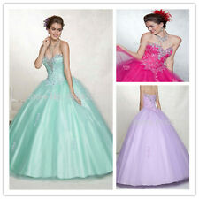 Lilac Hot Pink Mint Beads Appliques Quinceanera Dresses Pageant Prom Gown Custom