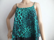 NEW WOMENS/LADIES LUSTRE  STRAPY CAMI SWING TOP CREPE/CHIFFON GREEN/BLACK UK8-14