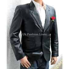 New Mens Two Button Real Leather Blazer Black Color XXS XS S M L XL XXL 3XL 4XL