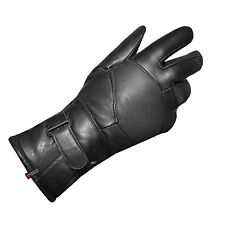 NEW UNISEX BIKER MOTORCYCLE LEATHER GLOVES BLACK