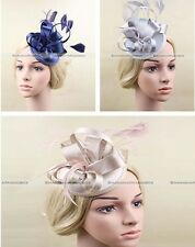 Lady Satin Cap Fascinator Feathers Hair clip Wedding Races Champagne/Blue/Grey