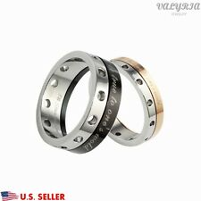 New VALYRIA Stainless Steel Lover Couple Wedding Promise Spinner Band Ring USA