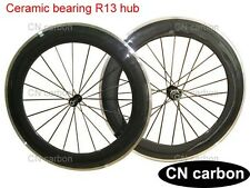 R13 Ceramic bearing 80mm Clincher carbon bicycle wheels Alloy brake surface