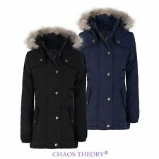 New Girls Kids Casual Quilted Faux Fur Hooded Padded Warm Parka Jacket Coat 7-13
