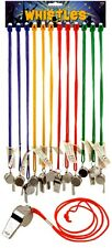Sports Whistle Metal Coloured String Football Referee School Teacher Games Train