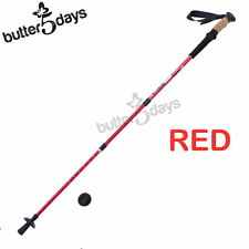 New 1x RED Trekking Walking Hiking Sticks Pole Alpenstock Adjustable Anti- Shock