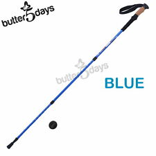 New 1x BLUE Sticks Trekking Walking Hiking Pole Alpenstock Adjustable Anti Shock