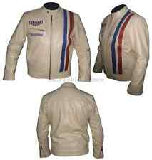 Steve McQueen Retro LE-MAN Grand Prix Vintage Leather Casual Jacket Beige
