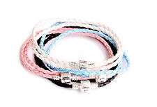Leather Necklace Bracelet 925 Stamped Silver Clasp (Fit European Beads)