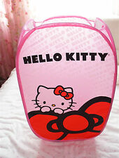 Foldable Pop up Hello Kitty Laundry Wash Hamper Toys Bag Basket Mesh Storage Bin
