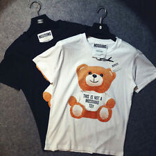 New Fashionial Men/Women Ready to Bear moschino graphic cartoon cotton Tee S~XL