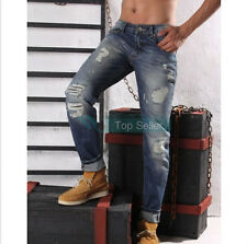 Korean Fashion Men's Slim Fit Hole Ripped jeans casual Straight trousers pants