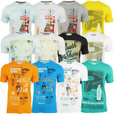 Mens South Shore T-Shirt Short Sleeved D1 Graphic Print Jersey