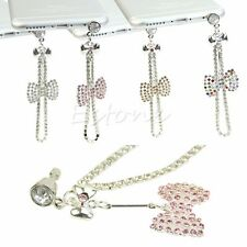 3.5mm Bling Bow Chain Anti Dust Earphone Plug Stopper Cap Cover For iPhone 6 5S