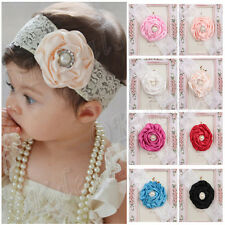 Kids Baby Girl Toddler Cute Lace Pearl Flower Headband Hair Band Headwear HOT