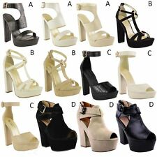 NEW WOMENS LADIES WEDGE HIGH HEEL SANDALS PLATFORM STRAPPY CUFF ANKLE SHOES SIZE