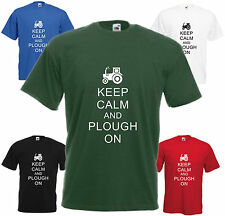 Keep Calm & Plough On T-shirt Funny Xmas Gift Present Top Young Farmer Tractor