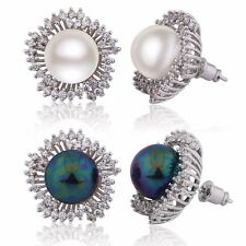 Glamorous 18k White Gold Filled Swarovski Crystal women's pearl stud earrings
