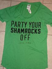 "VICTORIAS SECRET PINK BLING""PARTY YOUR SHAMROCKS OFF""CUFF SCOOPNECK TEESHIRT NWT"