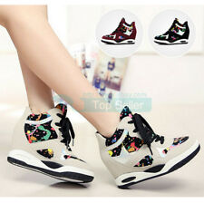 Chic Womens Wedge Hidden Lace Up Fashion Sneaker College Floral Pumps New Shoes