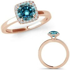 1.25 Carat Blue Diamond Fancy Solitaire Halo Wedding Band Ring 14K Rose Gold