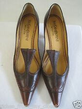 YVES SAINT LAURENT YSL Brown Leather Brogue Heels Shoes 39/9