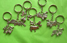 Farming Keyrings, Cow, Sheep, Pig, Tractor, Chicken, Scarecrow, Wheat & Wellies