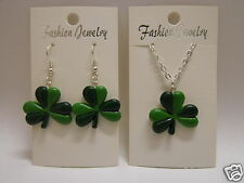 Lucky Green Four Leaf Clover Earrings or Necklace 925 Silver Wires Clip On