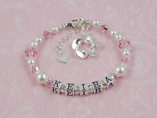 FLOWER Girls PERSONALISED Sterling Silver PINK Name Childs BRACELET GIFT Boxed