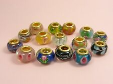 1 x GOLD Plated MURANO Glass ROUND Bead CHARM fit European Bracelet or Necklace
