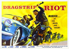 1950s Rock n Roll Hot Rod Movie Poster Dragstrip Riot Rockabilly Biker Corvette