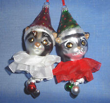 RAZ Imports Cat Head Christmas Ornament w/Charms-Choice Of Red Hat Or Green Hat