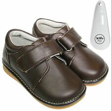 Boys Toddler Childrens Leather Squeaky Shoes Dark Brown School Shoes & Shoe Horn