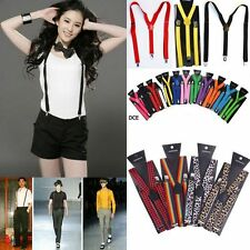 Solid Colors Mens Womens Clip-on Suspenders Elastic Y-Shape Adjustable Braces