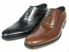 LOAKE Jones Frame sewn Leather Shoes Oxford Budapester Leather sole black/brown