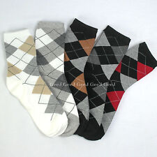 Socks 5pairs dress suit crew casual cotton argyle middle long men women daily